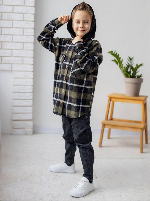 Теплая детская клетчатая рубашка с капюшоном 10082
