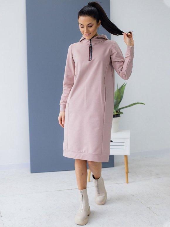 Спортивное платье худи с замком 3149