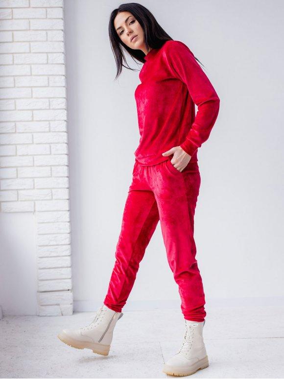 Стильный велюровый костюм со стойкой 3177