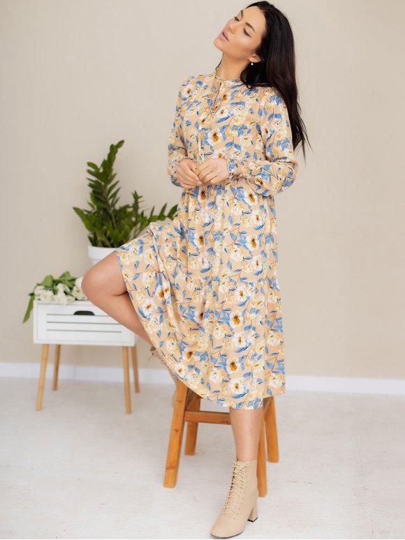 Легкое платье-миди из ткани в цветочный принт 3182