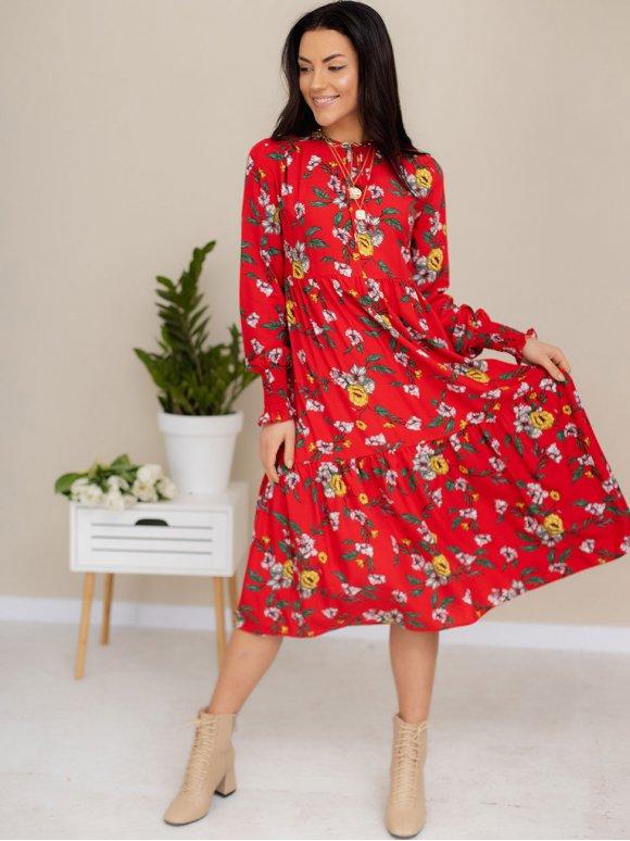 Яркое платье в цветочный принт с рукавами на резинке 3168
