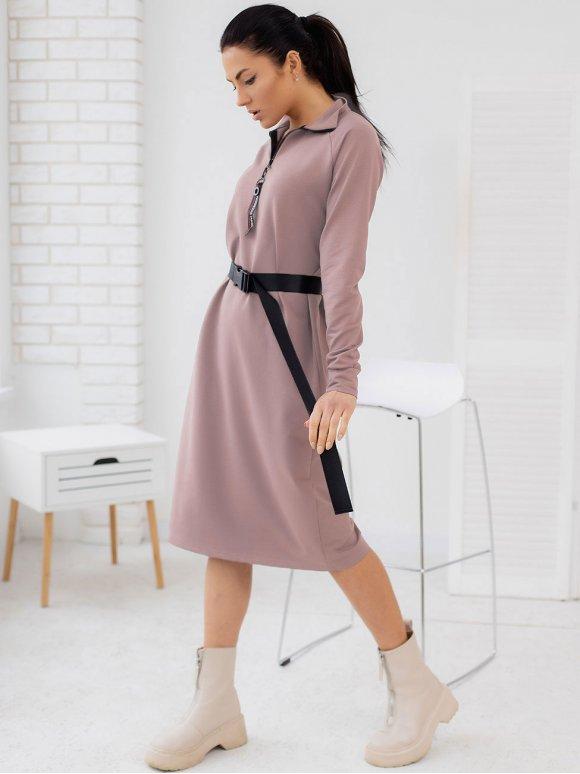 Платье-реглан на молнии с воротником стойкой (без пояса) 3155