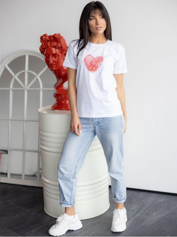 Белая футболка с ярким принтом 3193