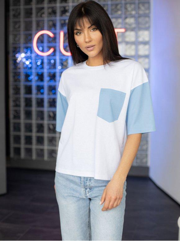 Комбинированная футболка с карманом 3200
