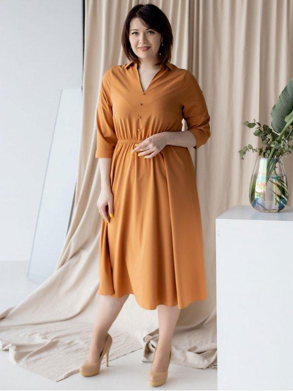 Однотонное платье size+ 3172