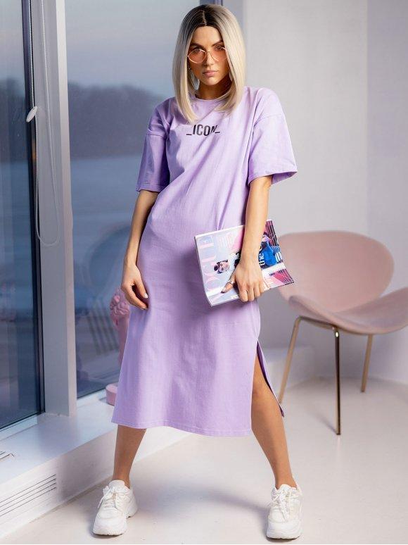 Стильное платье-футболка с принтом 3210