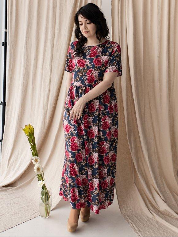 Длинное платье size+ из ткани в крупный цветок 3221