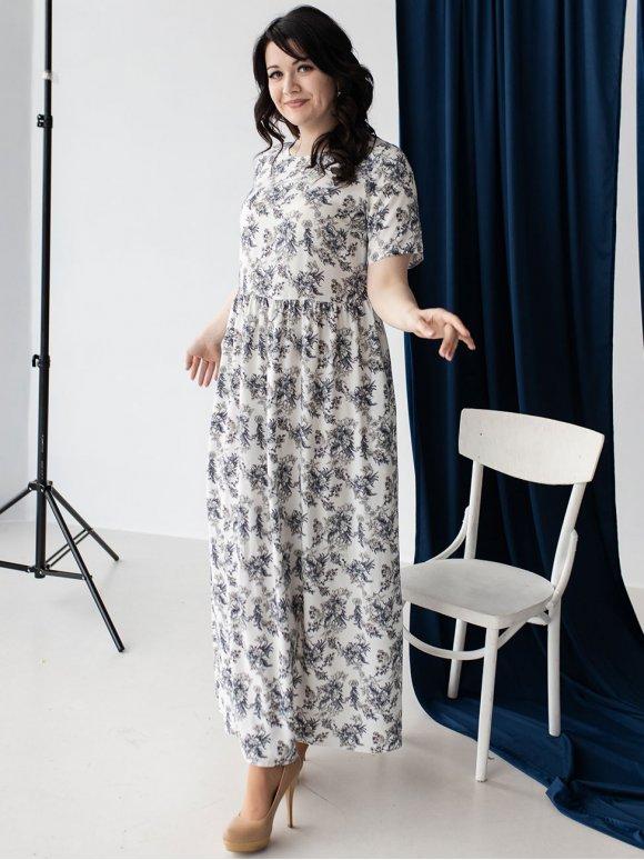 Красивое длинное платье size+ в цветочный принт 3224