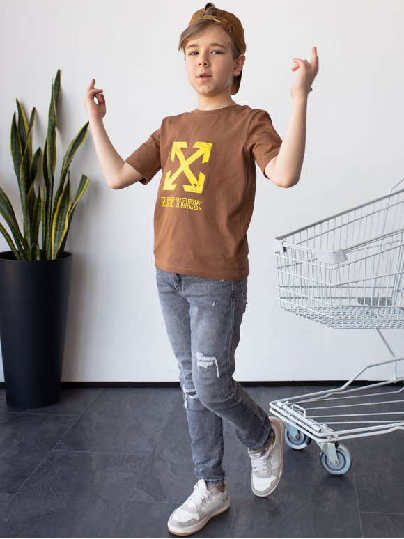 Модная детская футболка с принтом 10087