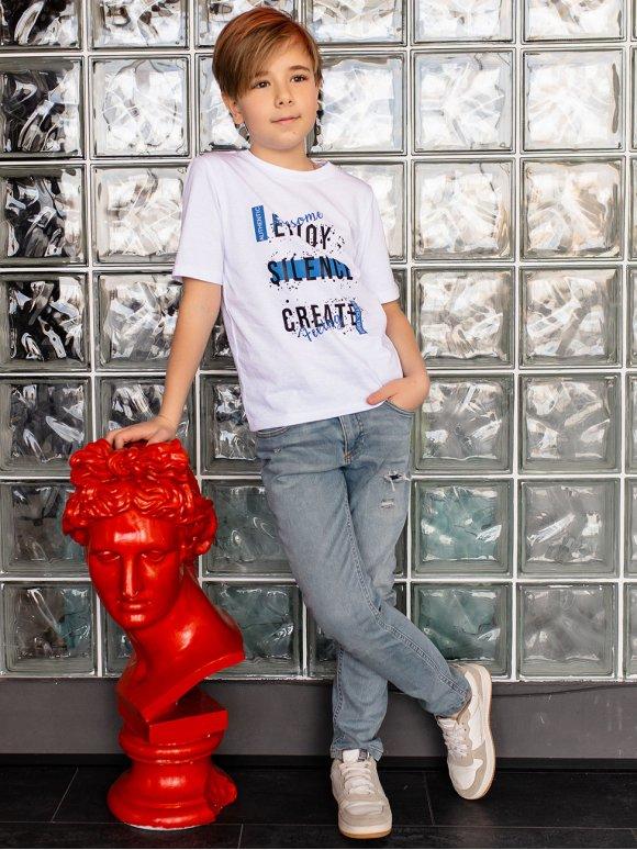Детская белая футболка с трендовым принтом 10094