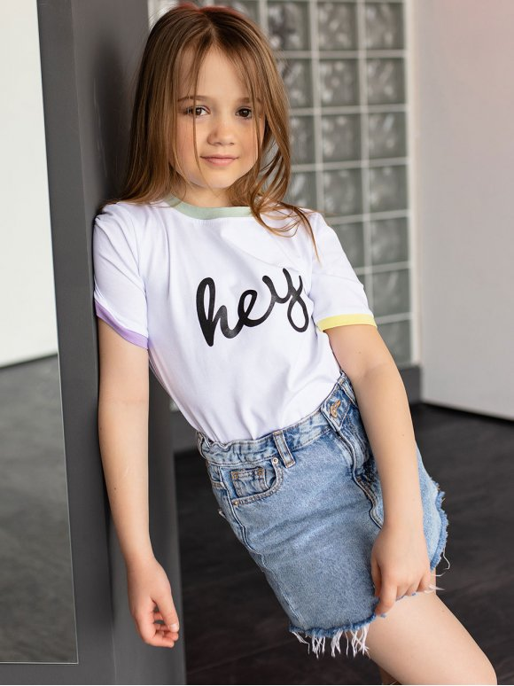 Детская футболка с цветными манжетами 10088