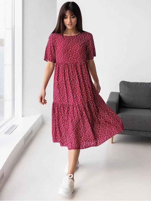 Летнее платье-миди свободного силуэта 3185