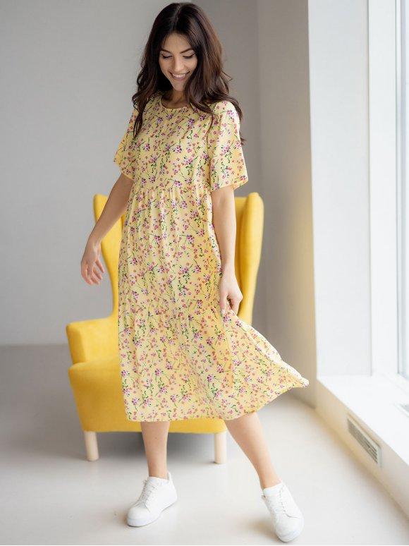 свободное летнее платье-миди в цветок 3230