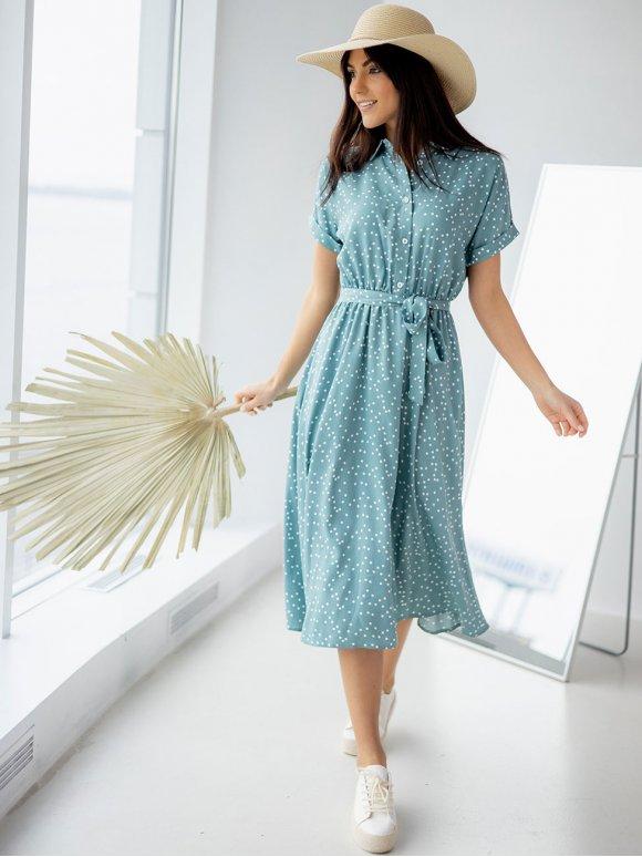 летнее платье в горошек с поясом 3225