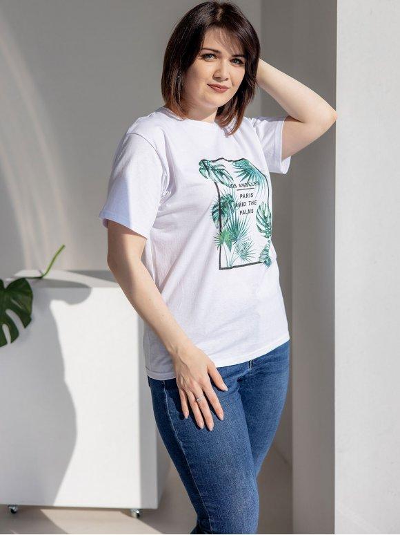 Белая футболка size+ с тропическим принтом 3199