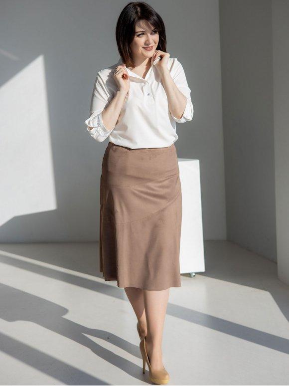 Стильная замшевая юбка size+ 3245