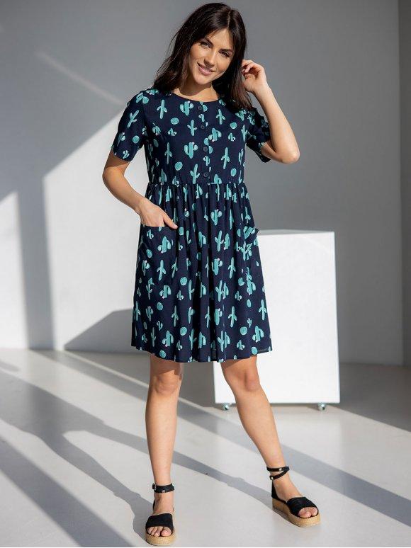 Принтованное летнее платье на пуговицах 3014