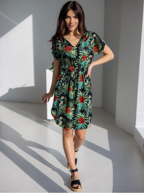 Летнее платье в тропический принт 3231