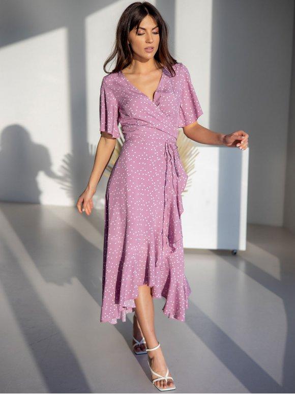 воздушное платье на запах с рюшами 3229