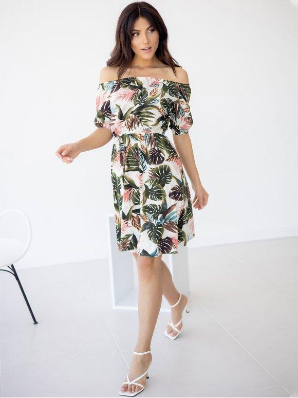 Платье в тропический принт с открытыми плечами 3233