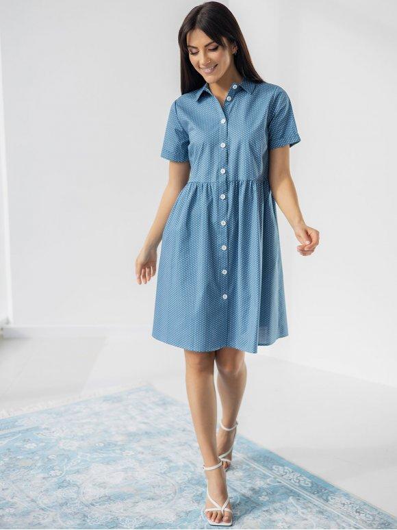 Стильное платье-рубашка в горошек 3246