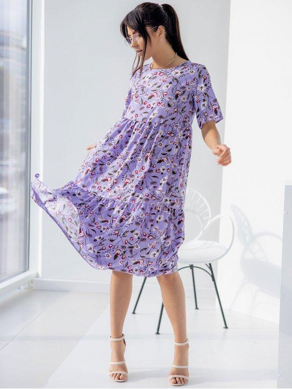 Платье-миди из легкой ткани в цветочный принт 3255