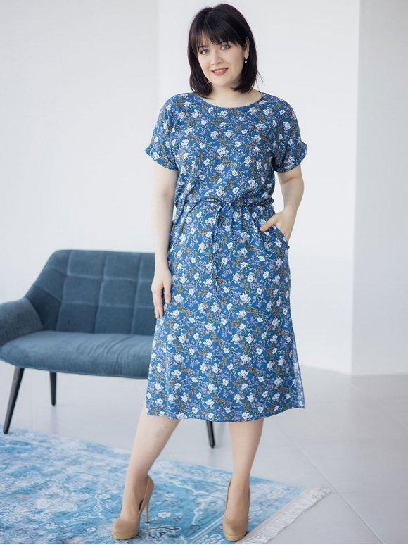 Платье size+ на кулиске в цветочный принт 3251