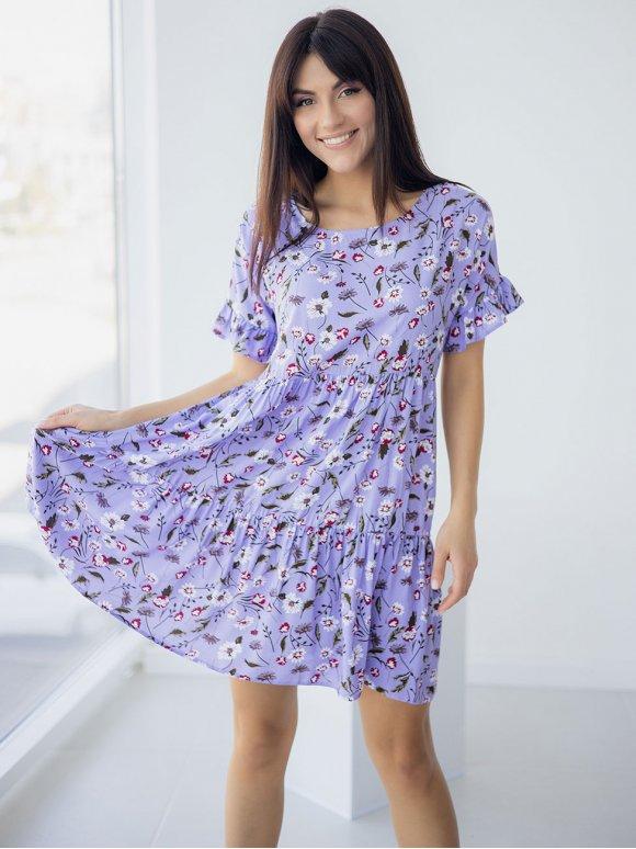 Свободное платье в цветок с рюшами на рукавах 3249