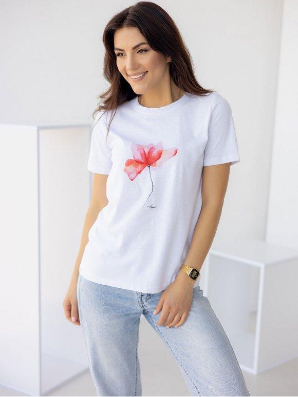 Белая хлопковая футболка с цветным принтом 3253