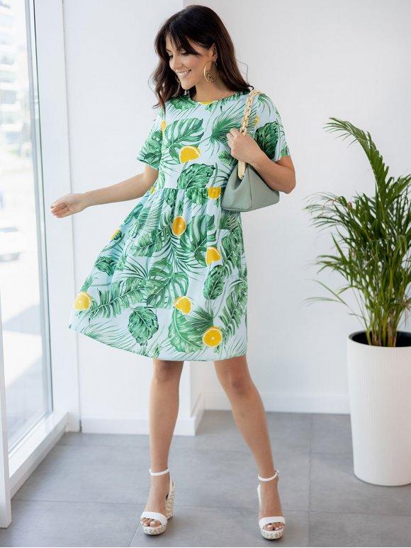 Лёгкое платье в тропический принт с карманами 3258