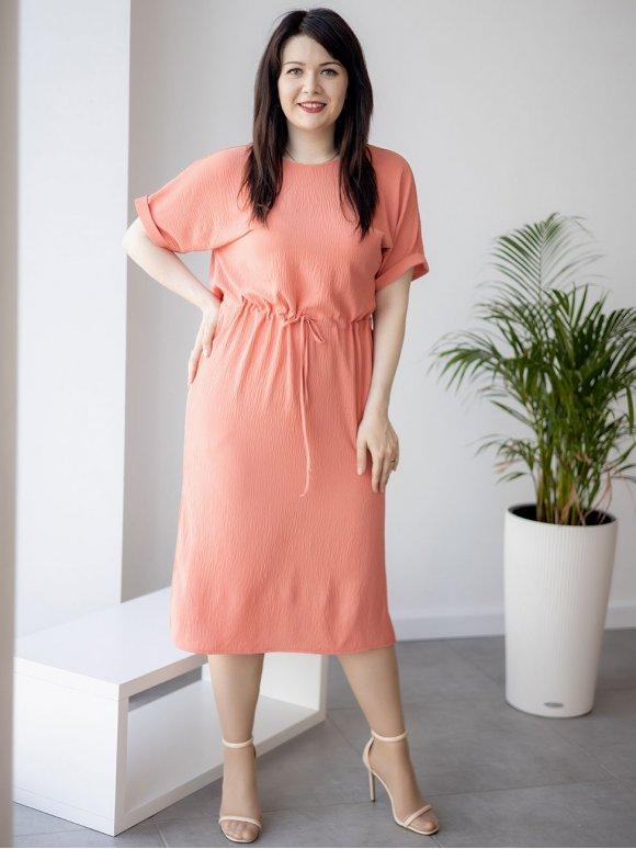 Фактурное платье size+ на кулиске 3266