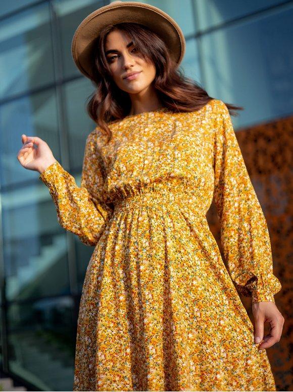 Нарядное платье миди в цветочный принт 3280