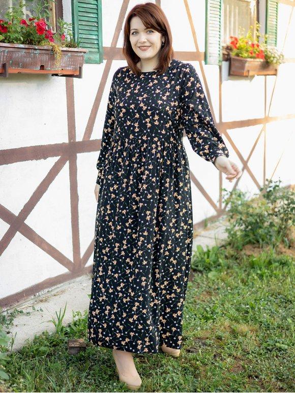 Длинное платье size+ в цветочный принт 3302