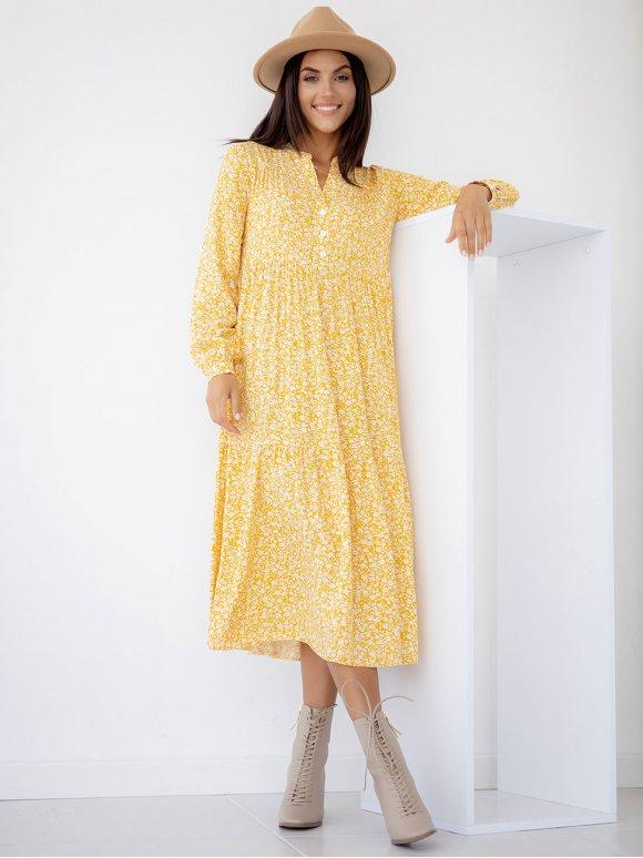 Свободное платье миди в цветочный принт 3282