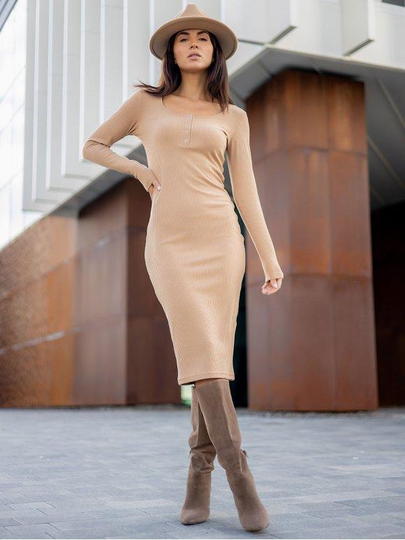 Приталенное платье в рубчик с планкой на кнопках 3310