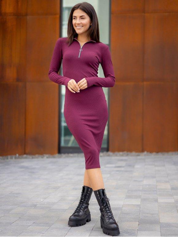 Платье в рубчик с воротником-стойкой на молнии 3323