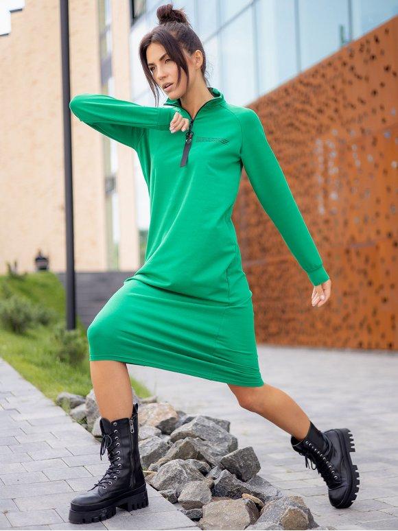 Спортивное платье реглан с воротником-стойкой на молнии 3314