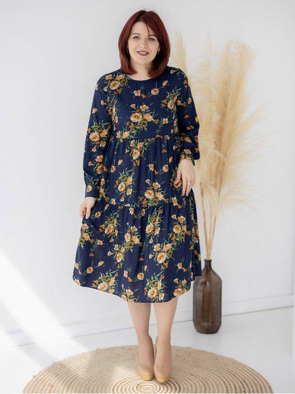 Платье-миди size+ в цветочный принт 3334
