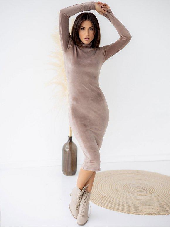 Базовое велюровое платье-гольф 3325