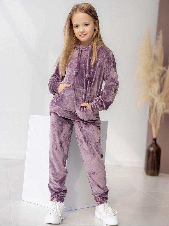 Детский велюровый костюм с капюшоном 10111
