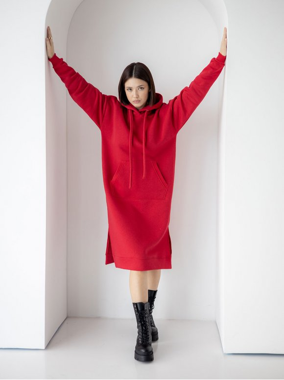 Свободное платье худи с карманом кенгуру 3346