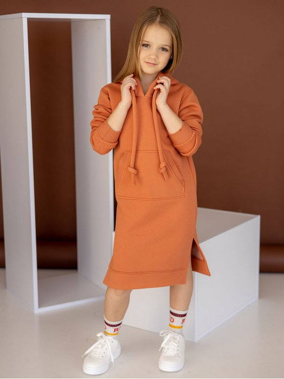 Детское платье худи с карманом кенгуру 10104
