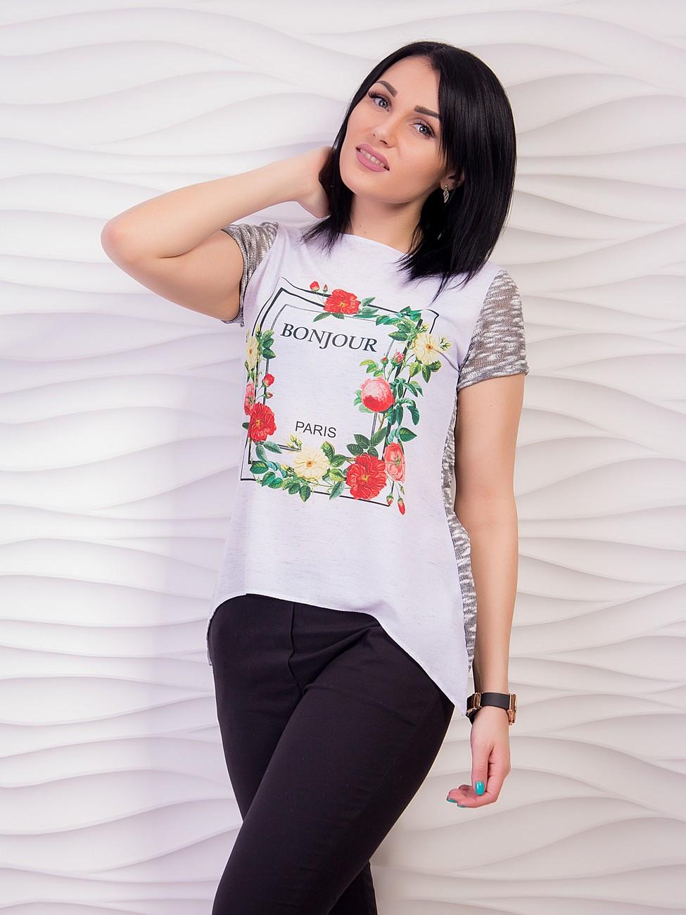 Блуза комбинированная с цветочным принтом. Арт.1939 e4cda1fbcfe