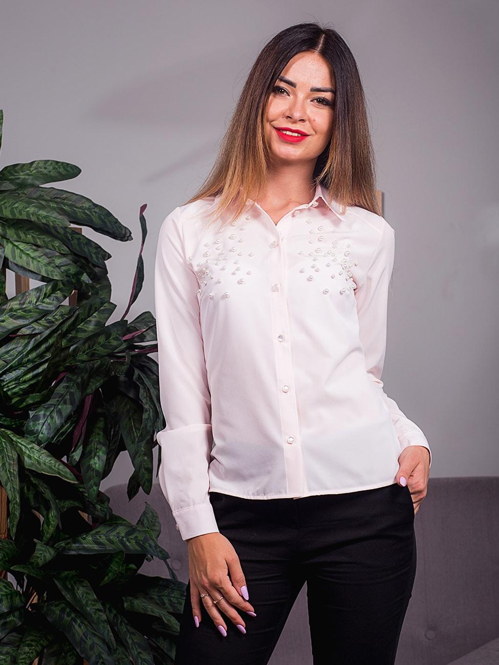 396d76b7470803 Легка блуза, прикрашена перлинами. Арт.2415