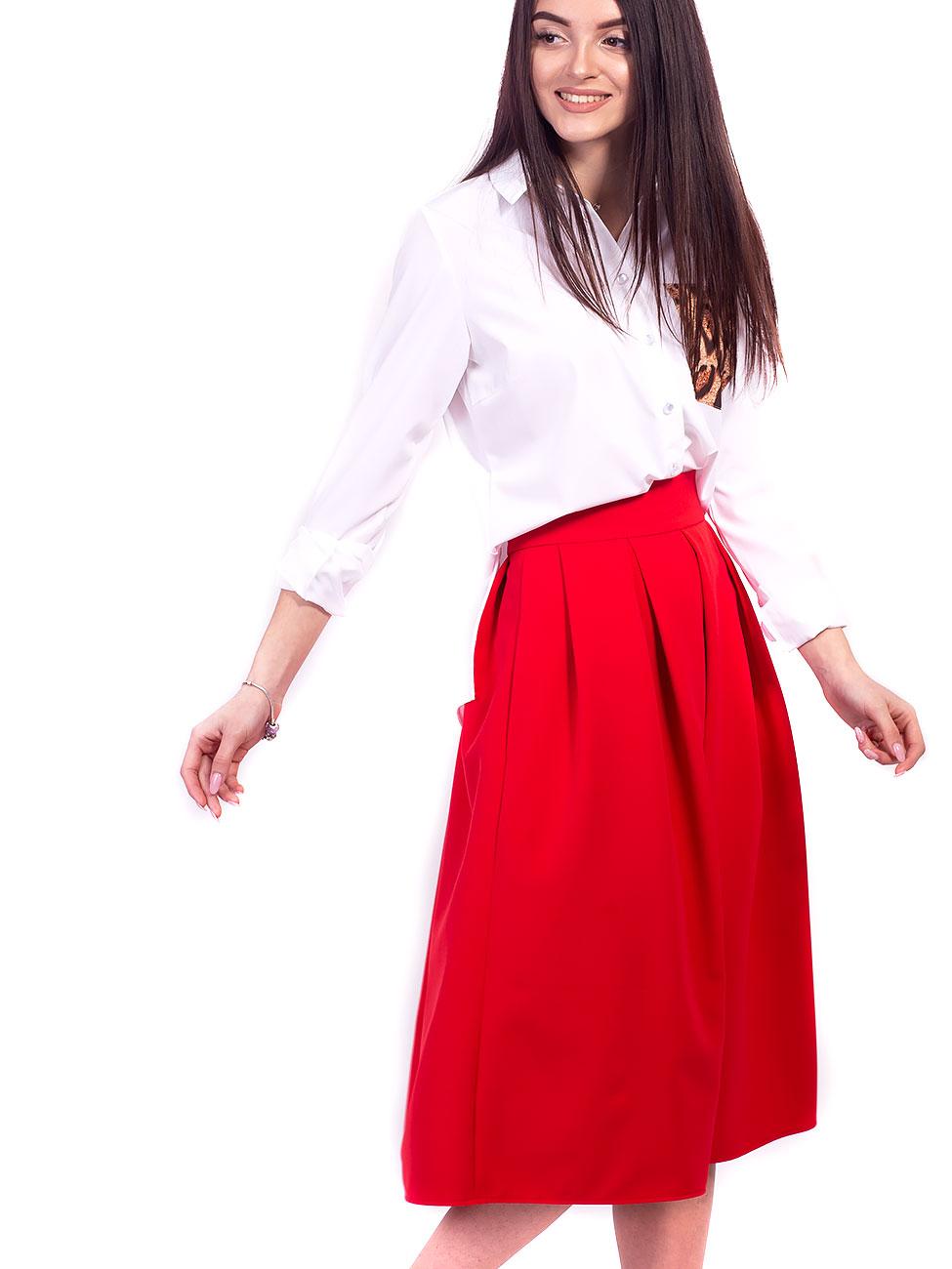Розкішна міді-спідниця А-силуету зі складками та зручними кишенями. Арт.2645 f50503b9a83a5
